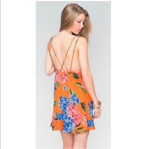 Show Me Your Mumu SMYM Orange Floral Dress Sz Sm